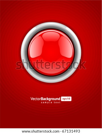 Red alarm vector shiny button background - stock vector