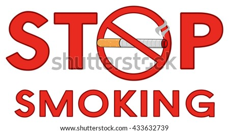 red alphabets stop smoking red sign stock vector royalty free