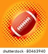 Red american footballs on the bright  background with halftone - stock vector