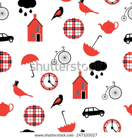 red and black  british  pattern
