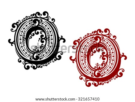 Red and black capital letter O, adorned by curly ornament elements and round spots in retro style. For calligraphy engraving design - stock vector