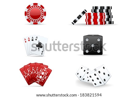 Red and black casino icons: chips, dices, cards - stock vector