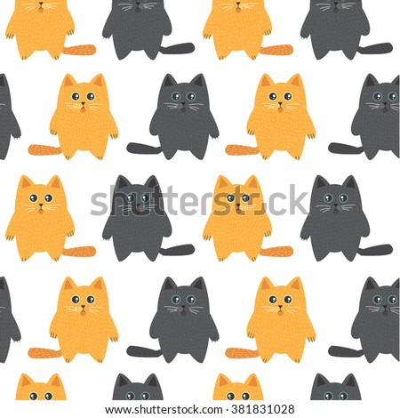 Red and black cats. Cute vector cats. Pets. Animals. Seamless pattern with cute cats. All elements are  hidden under mask. Pattern are not cropped and can be edited - stock vector