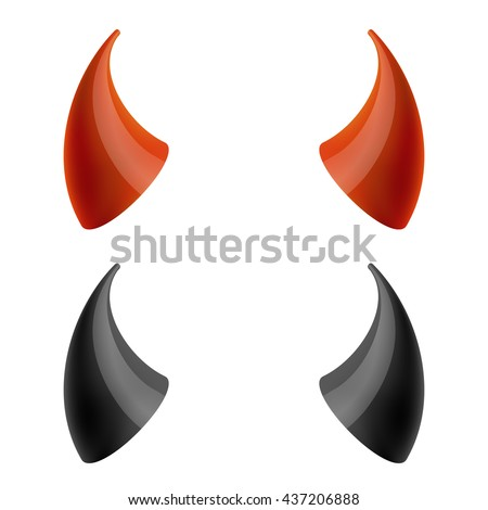 Red and black devil, demon horns isolated on white. Vector illustration - stock vector