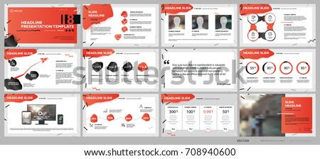 Red and black elements of presentation templates on a white background. Vector infographics. Use in Presentation, flyer and leaflet, corporate report, marketing, advertising, annual report, banner.