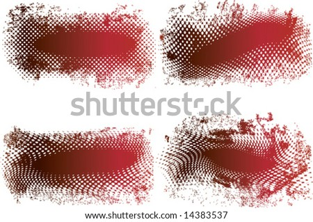 Red and black grunge banners made from halftone dots with space for text - vector - stock vector