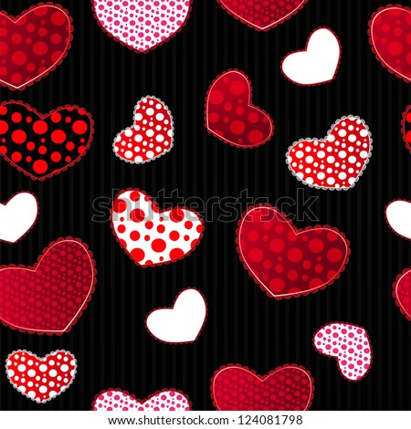 Red and Black Love Valentin's Day Seamless Pattern. Vector Illustration for your design - stock vector