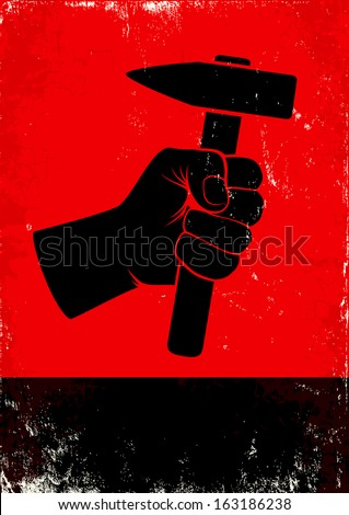 Red and black poste witth hand holding a hammer - stock vector