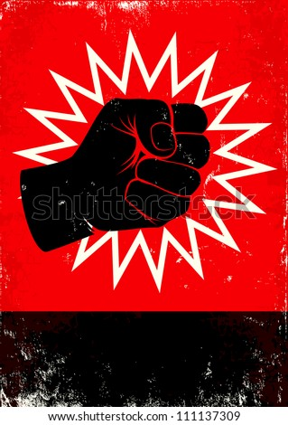Red and black poster with fist