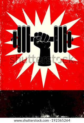 Red and black poster with hand and dumbbell - stock vector
