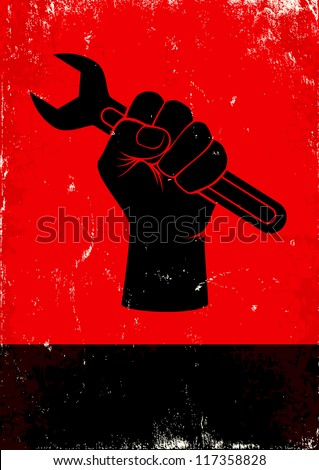 Red and black poster with hand holds a wrench - stock vector