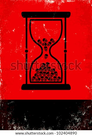 Red and black poster with hourglass and skulls - stock vector