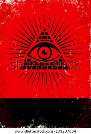 Red and black poster with pyramid and eye - stock vector