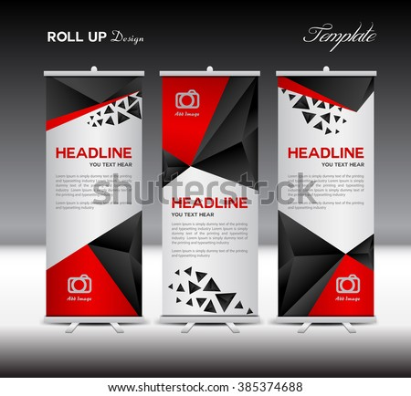 Red and black Roll Up Banner template vector illustration,polygon background,banner design,standy template,roll up display,advertisement,Roll up banner,Blue background,template,presentation,j-flag - stock vector