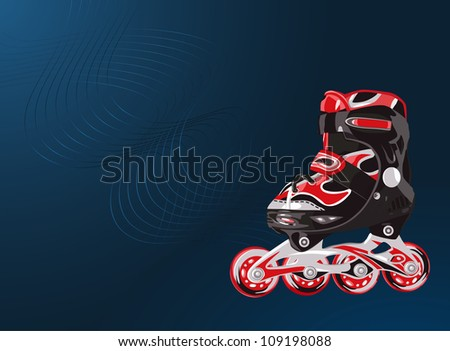 Red and black rollerskate on blue background with light lines - stock vector