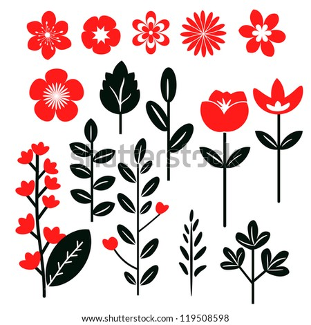 Red and black set of flowers and leaves