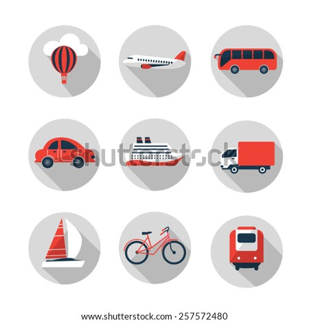 red and black set of transport icons - stock vector