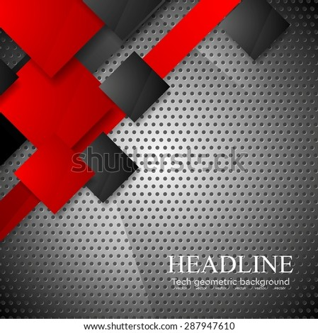 Red and black squares on metallic perforated texture background. Vector steel design - stock vector