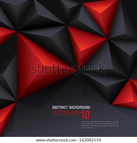 Red and black vector geometric background. Can be used in cover design, book design, website background, CD cover, advertising.  - stock vector