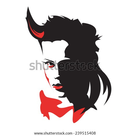 Red and black  vector head of demon girl - stock vector