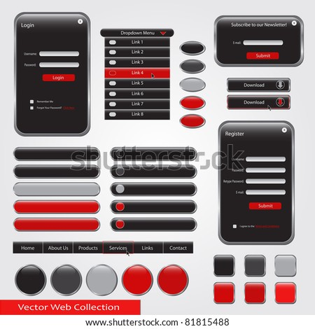 Red and black web vector collection - stock vector