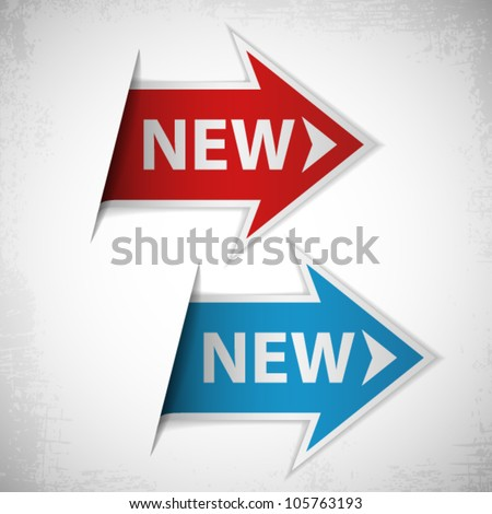 Red and blue arrow with word new