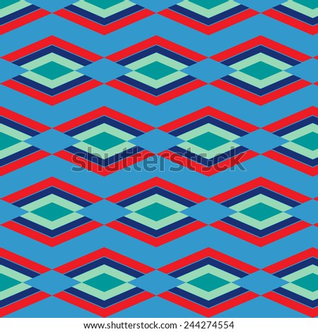 red and blue  aztec seamless pattern - stock vector