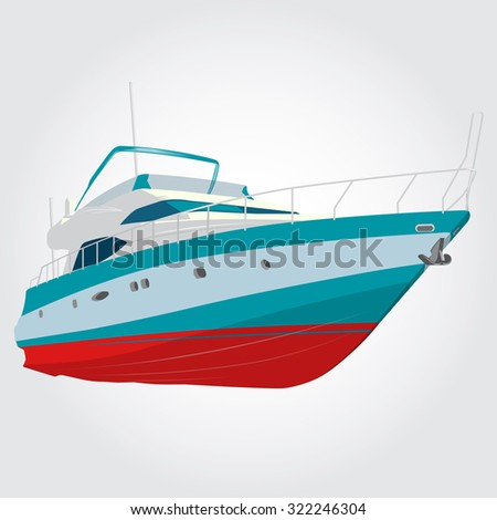 Red and blue boat on the surface, nice illustration of fishing ship