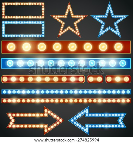 Red and blue design elements with  light bulbs, Vector illustration - stock vector