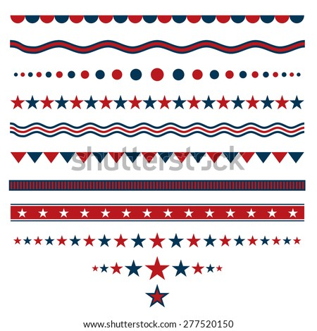 Red and blue dividers for patriotic designs - stock vector