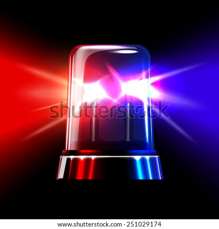 Red and blue emergency flashing siren. Vector - stock vector
