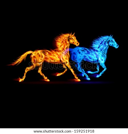 Red and blue fire horses in spectrum colors on black background. - stock vector