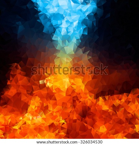 Red and blue fire on balck background, Abstract Triangle Geometrical Multicolored Background, Vector Illustration EPS10 - stock vector