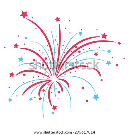 Red and blue fireworks on a white background - stock vector