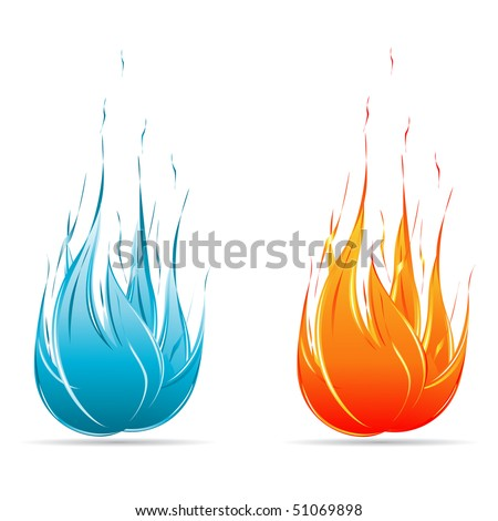 Red and Blue flame icon set isolated on white - stock vector