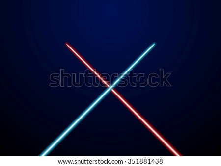 Red and blue glowing light swords. Vector illustration - stock vector