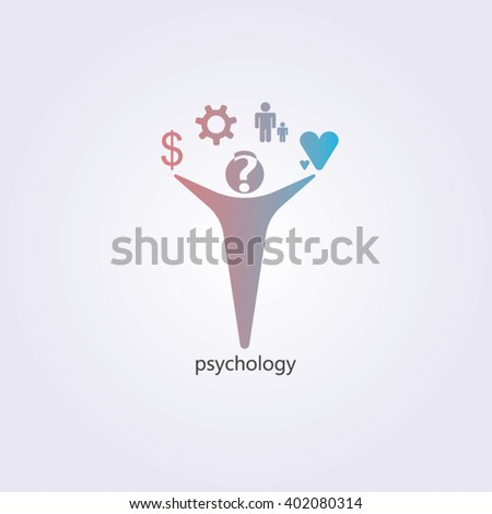 Red and blue gradients man for psychology logo design - stock vector