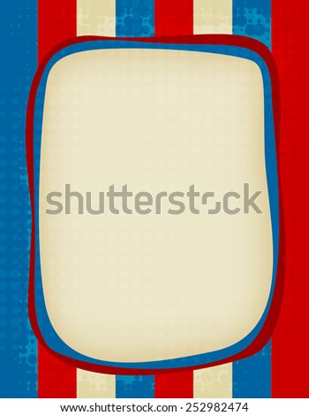 Red and blue grunge USA flag background / frame - stock vector