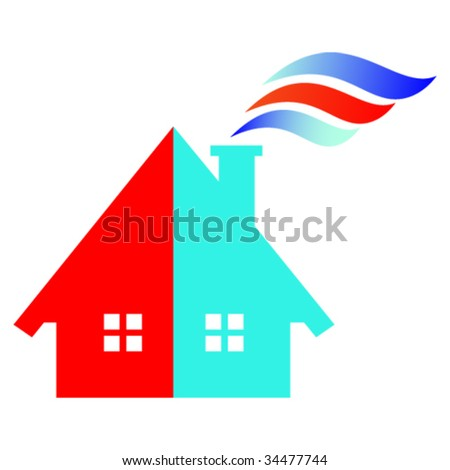 RED AND BLUE HOUSE 02 | VECTOR