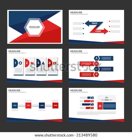 Red and blue Multipurpose Infographic elements and icon presentation flat design set for advertising marketing brochure flyer leaflet - stock vector