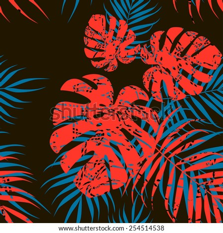 Red and blue palm foliage on black background - stock vector