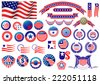 Red and blue patriotic American badges and labels with flag, banners, round labels, shields and wreaths in the colour and pattern of the Stars and Stripes - stock photo