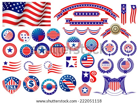 Red and blue patriotic American badges and labels with flag, banners, round labels, shields and wreaths in the colour and pattern of the Stars and Stripes - stock vector