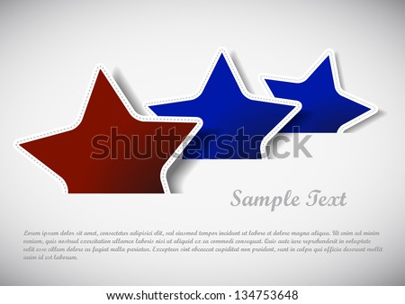 red and blue stars illustration with sample text
