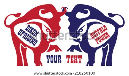 red and blue stylized buffalo logo with text - stock vector