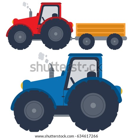 red blue tractors trolley stock vector royalty free 634617266