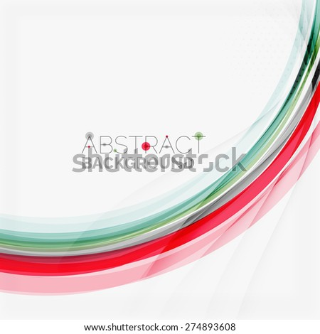 Red and blue wave lines, abstract background, business corporate template - stock vector