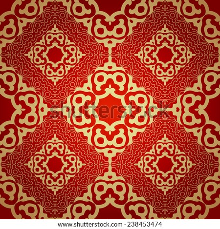 Red and gold  background in traditional ottoman motifs.Decorative seamless pattern in mosaic ethnic style.Vector illustration  - stock vector