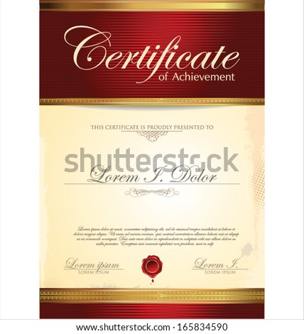 Red and gold Certificate template - stock vector