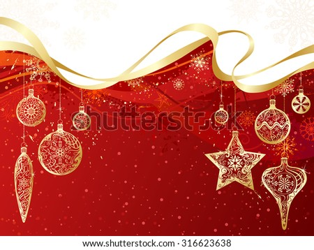 Red and gold Christmas background. Gold Christmas decorations and snowflakes on grunge red background. There is copy space for your text on red and white areas.  - stock vector